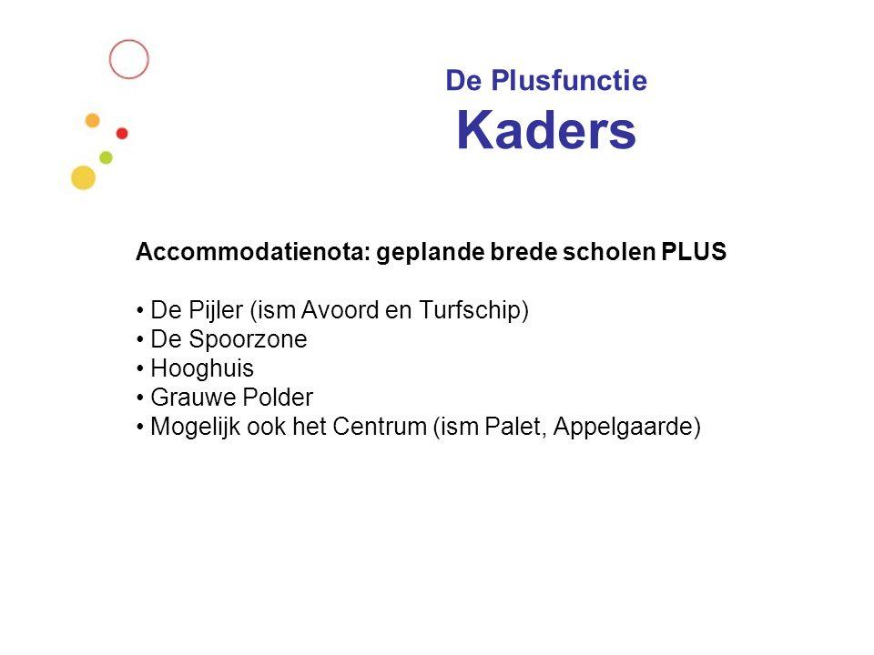 De Plusfunctie Kaders Accommodatienota: geplande brede scholen PLUS