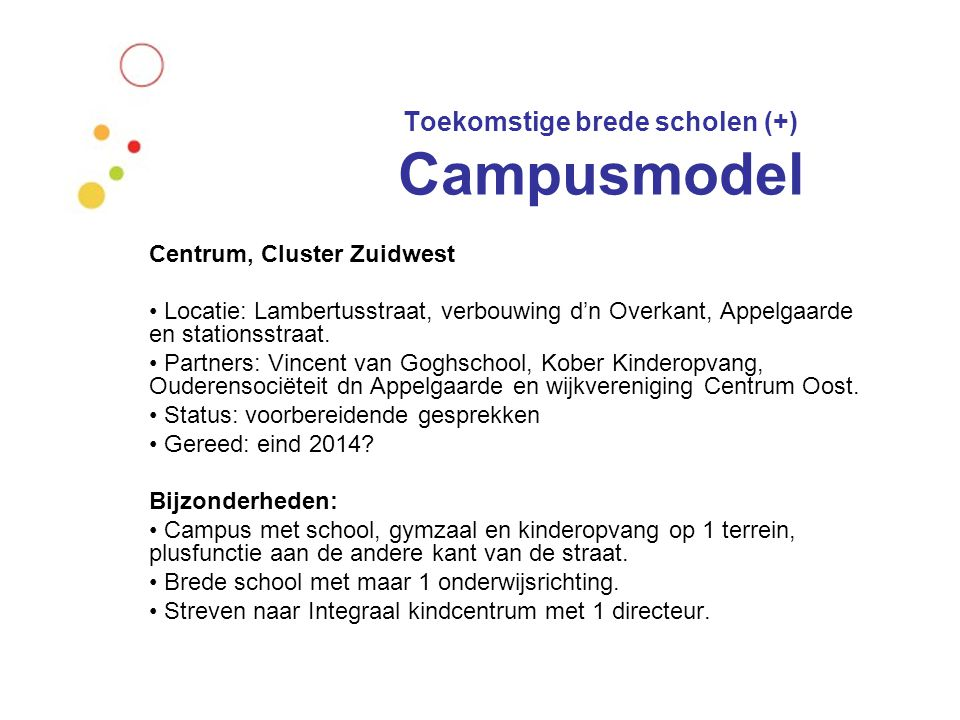 Toekomstige brede scholen (+) Campusmodel