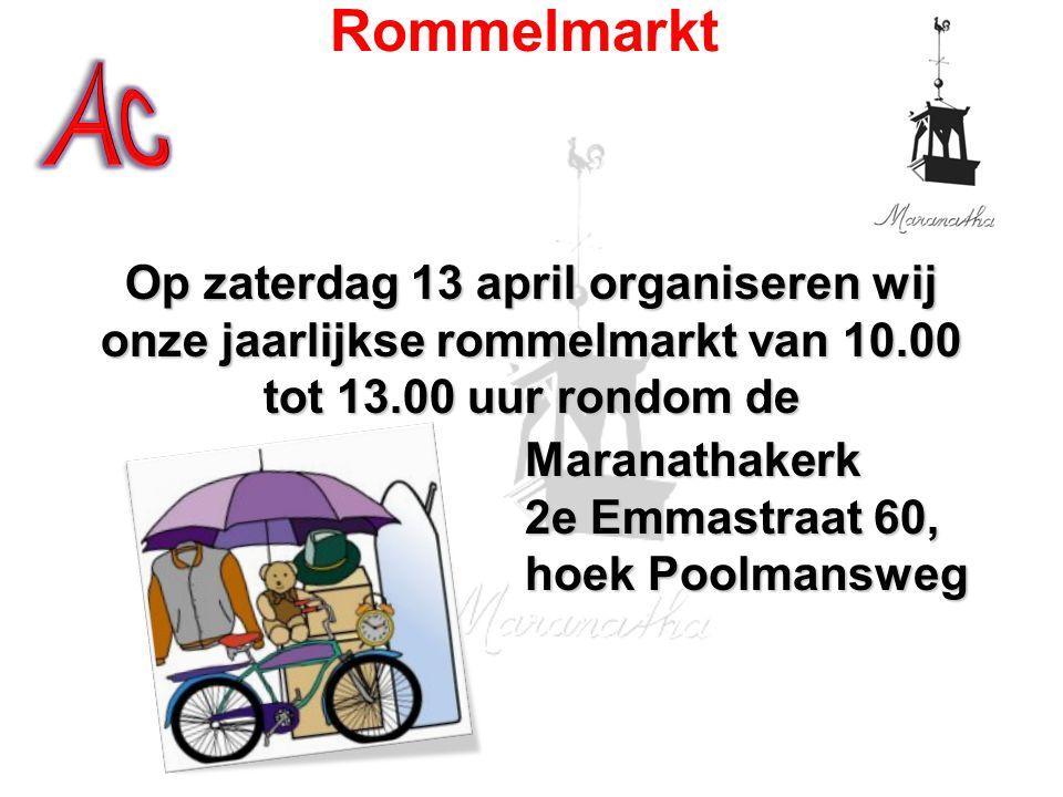 Ac Rommelmarkt. Op zaterdag 13 april organiseren wij onze jaarlijkse rommelmarkt van 10.00 tot 13.00 uur rondom de