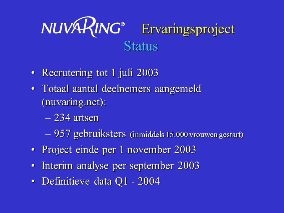 Ervaringsproject Status