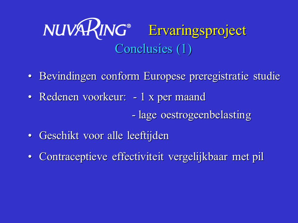 Ervaringsproject Conclusies (1)