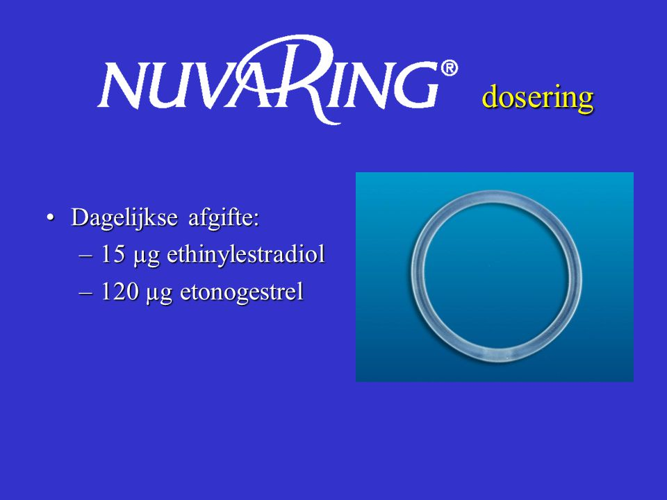 dosering Dagelijkse afgifte: 15 µg ethinylestradiol