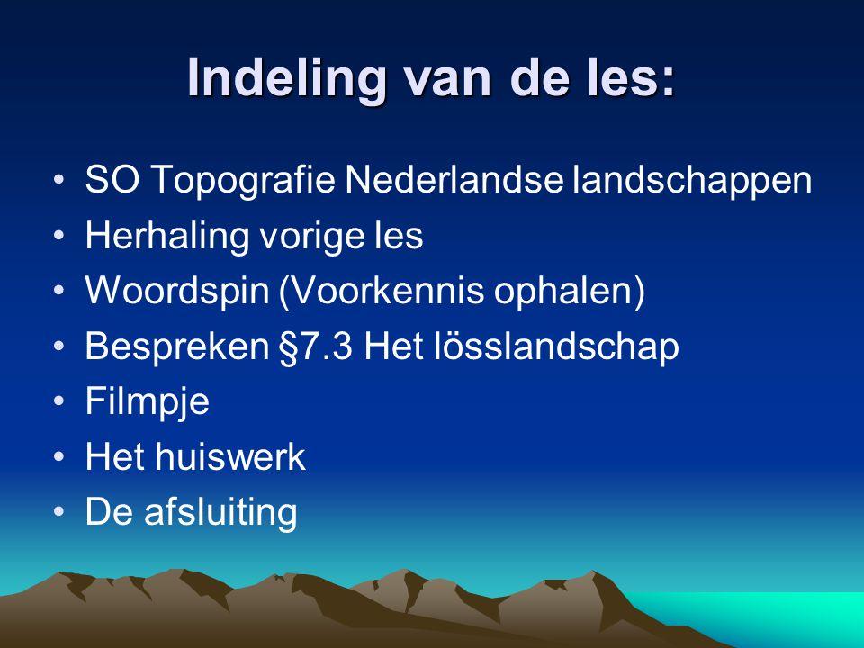 Indeling van de les: SO Topografie Nederlandse landschappen