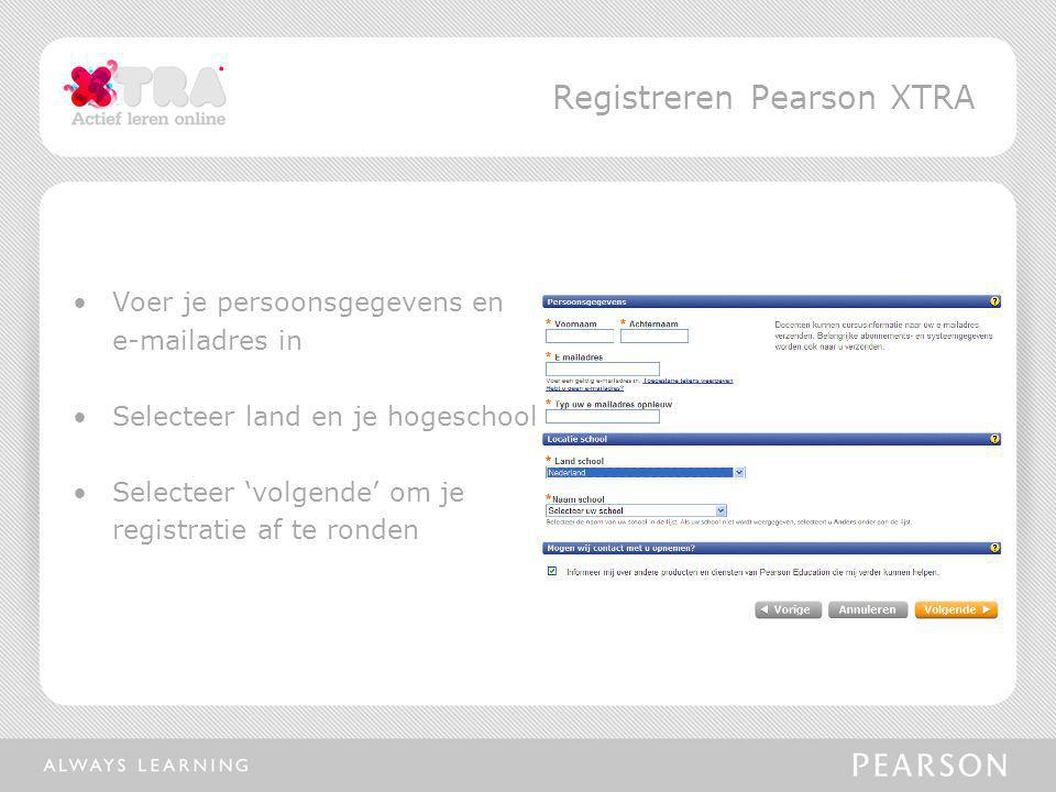 Registreren Pearson XTRA