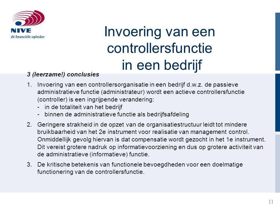 Invoering van een controllersfunctie in een bedrijf