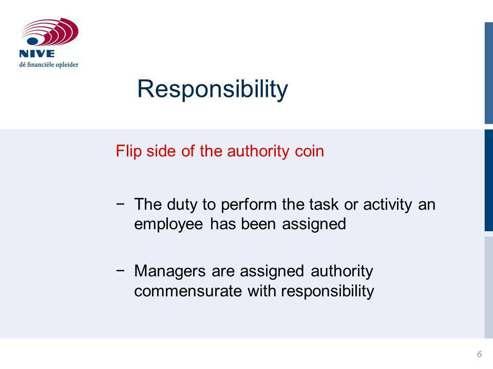 Responsibility Flip side of the authority coin