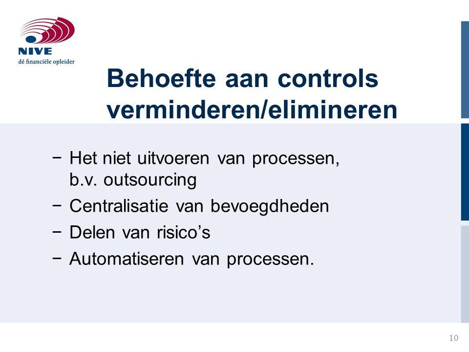 Behoefte aan controls verminderen/elimineren