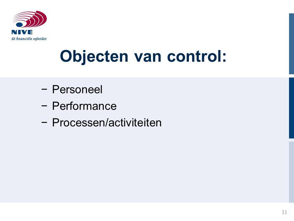 Objecten van control: Personeel Performance Processen/activiteiten