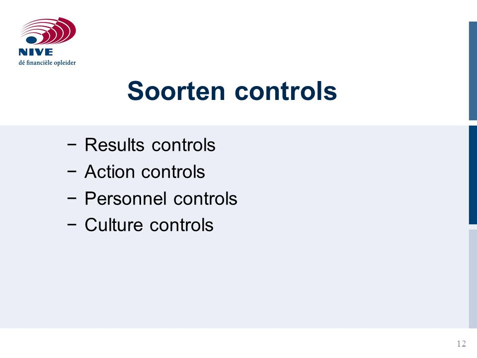 Soorten controls Results controls Action controls Personnel controls