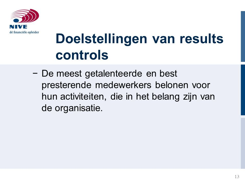 Doelstellingen van results controls