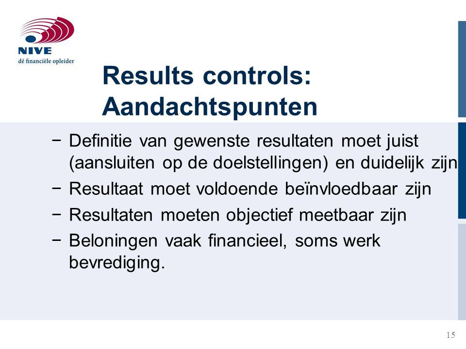 Results controls: Aandachtspunten