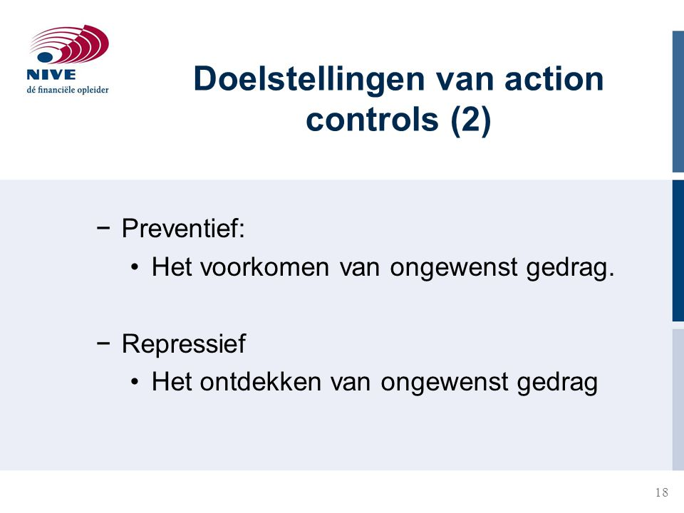 Doelstellingen van action controls (2)