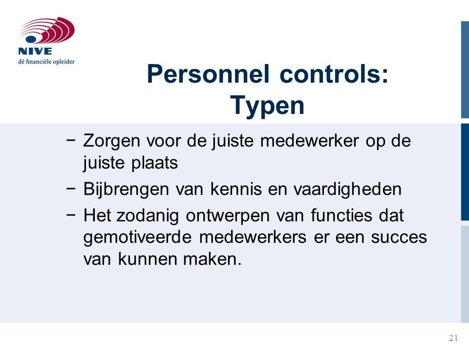 Personnel controls: Typen