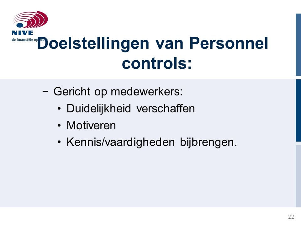 Doelstellingen van Personnel controls: