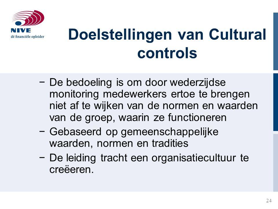 Doelstellingen van Cultural controls