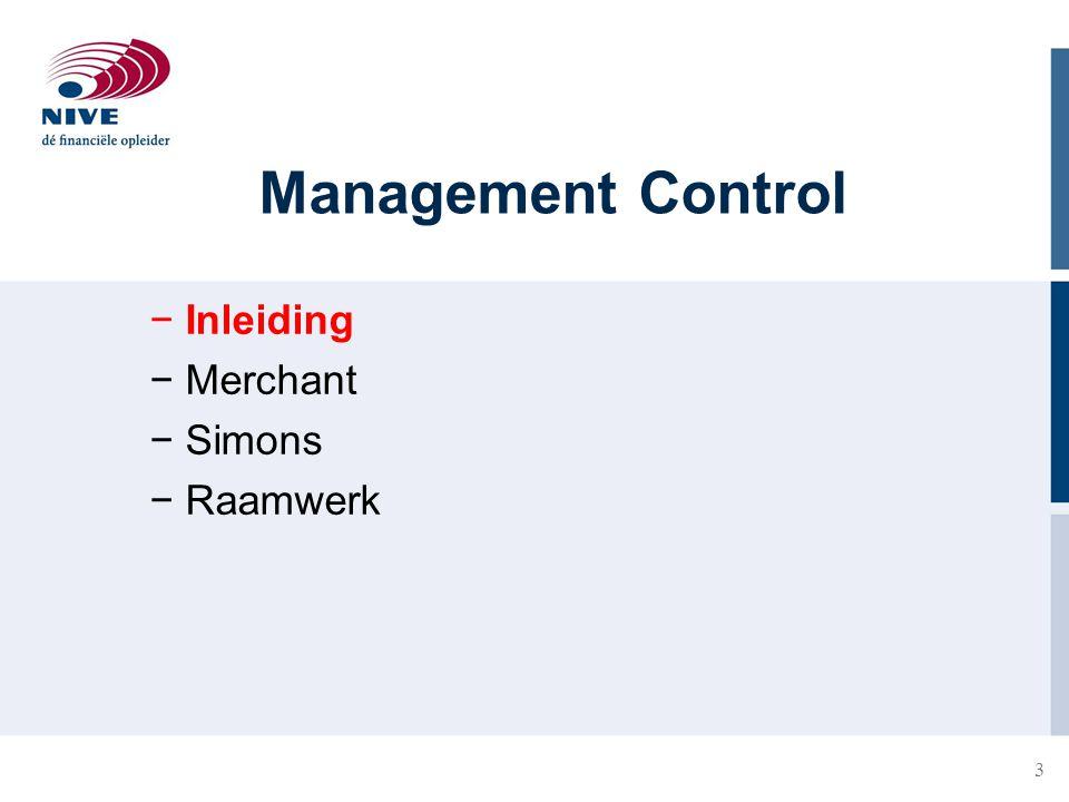 Management Control Inleiding Merchant Simons Raamwerk