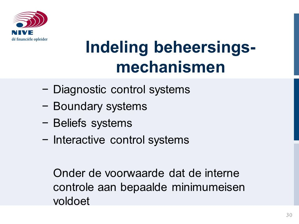 Indeling beheersings-mechanismen