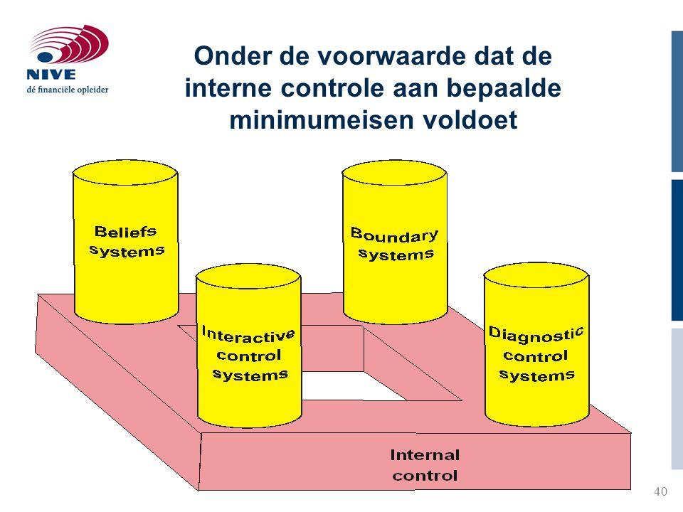 Onder de voorwaarde dat de interne controle aan bepaalde minimumeisen voldoet