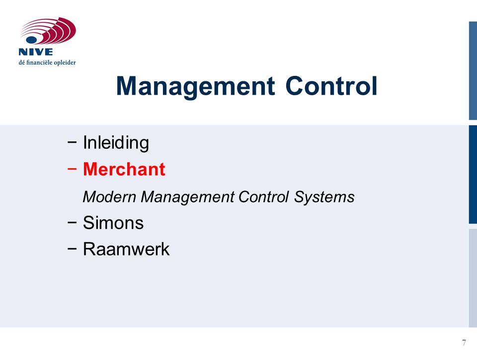 Management Control Inleiding Merchant