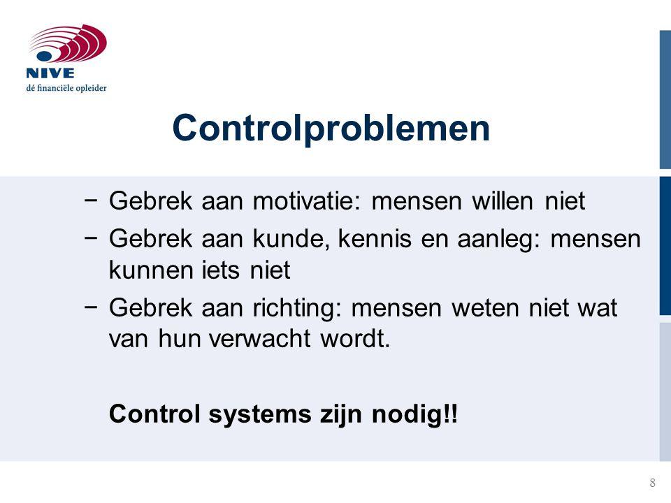 Controlproblemen Gebrek aan motivatie: mensen willen niet