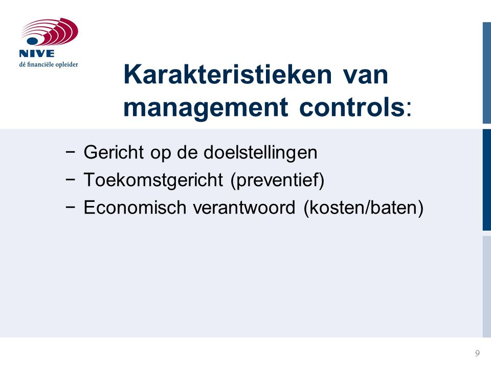 Karakteristieken van management controls: