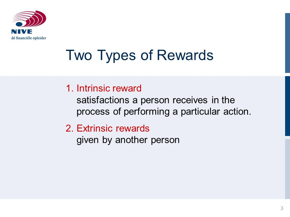 Two Types of Rewards 1. Intrinsic reward satisfactions a person receives in the process of performing a particular action.