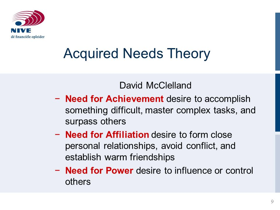 Acquired Needs Theory David McClelland