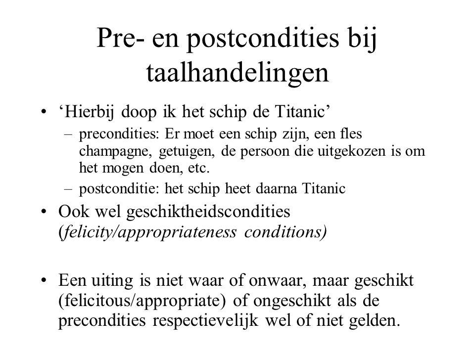 Pre- en postcondities bij taalhandelingen