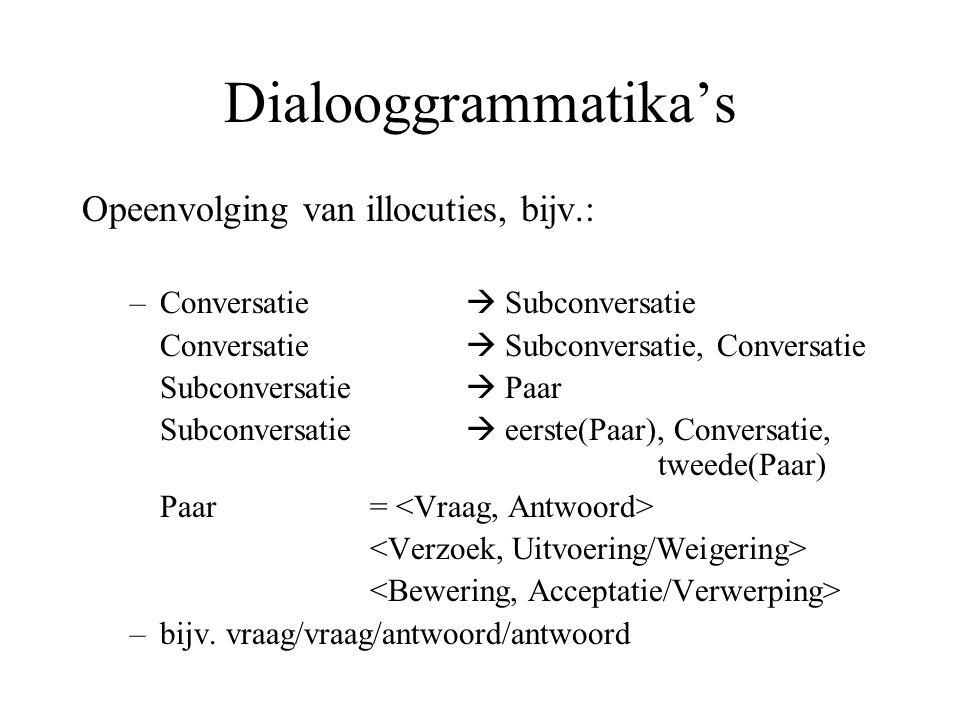 Dialooggrammatika's Opeenvolging van illocuties, bijv.: