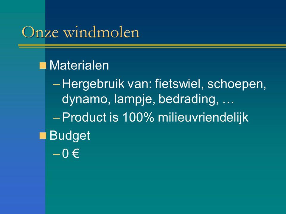 Onze windmolen Materialen