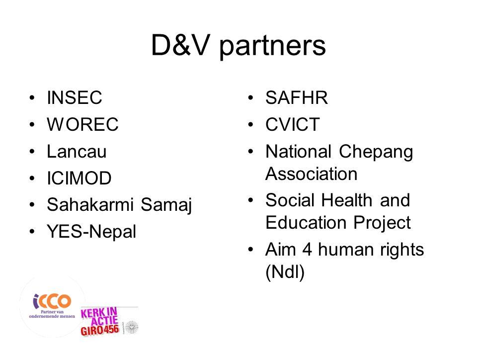 D&V partners INSEC WOREC Lancau ICIMOD Sahakarmi Samaj YES-Nepal SAFHR