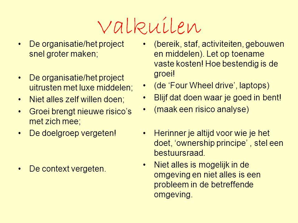Valkuilen De organisatie/het project snel groter maken;