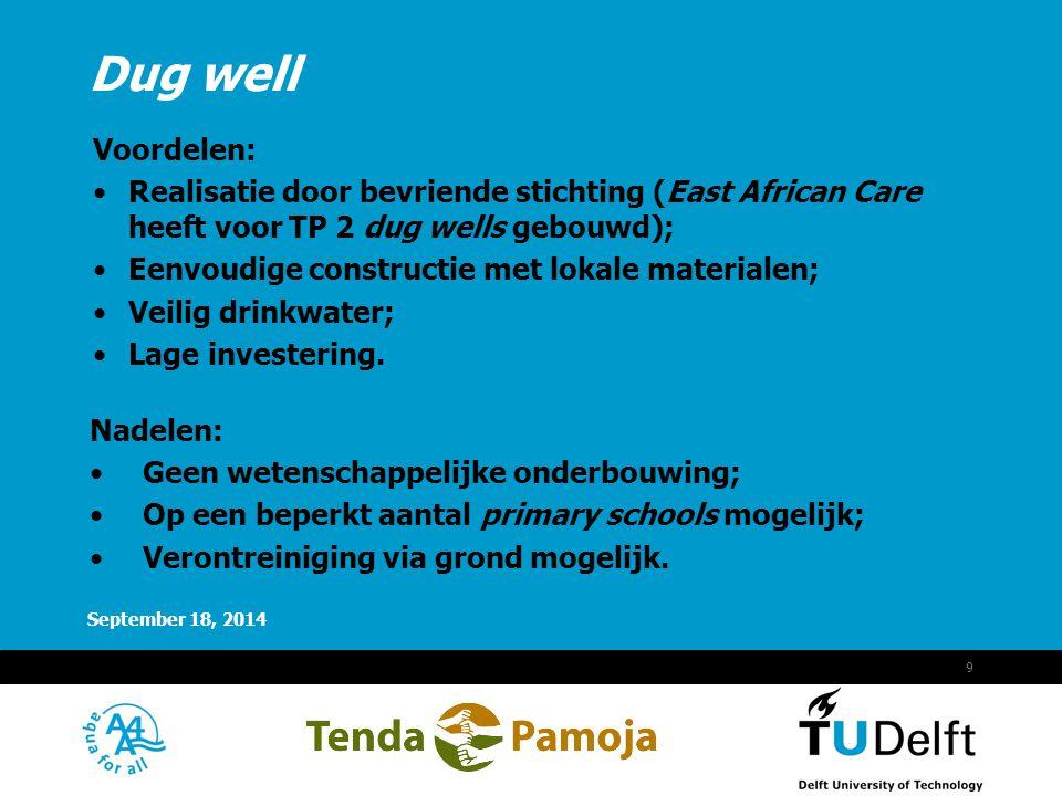 Dug well Voordelen: Realisatie door bevriende stichting (East African Care heeft voor TP 2 dug wells gebouwd);