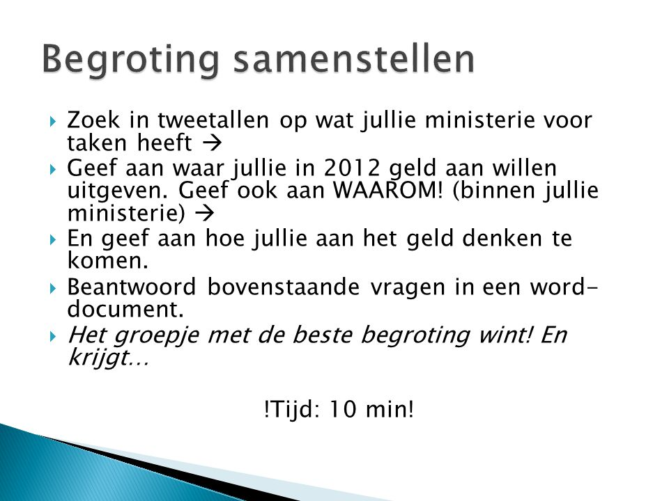 Begroting samenstellen