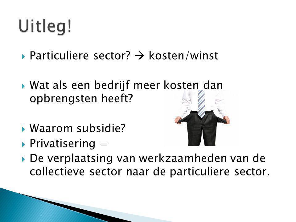 Uitleg! Particuliere sector  kosten/winst
