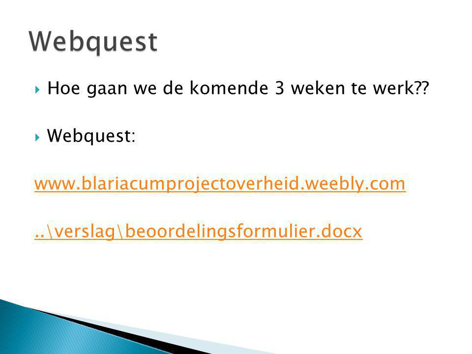 Webquest Hoe gaan we de komende 3 weken te werk Webquest: