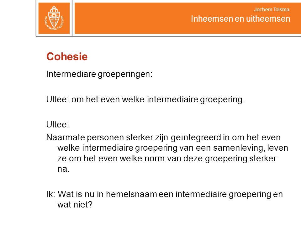 Cohesie Intermediare groeperingen: