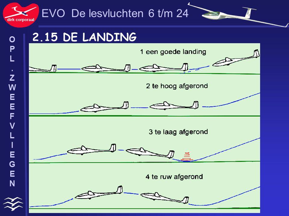 EVO De lesvluchten 6 t/m 24 2.15 DE LANDING O P L . Z W E F V I G N