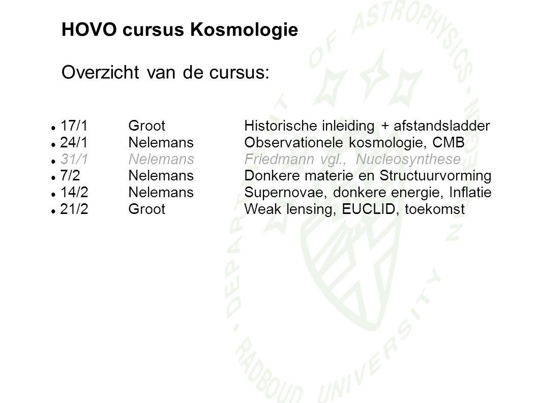 HOVO cursus Kosmologie Overzicht van de cursus: