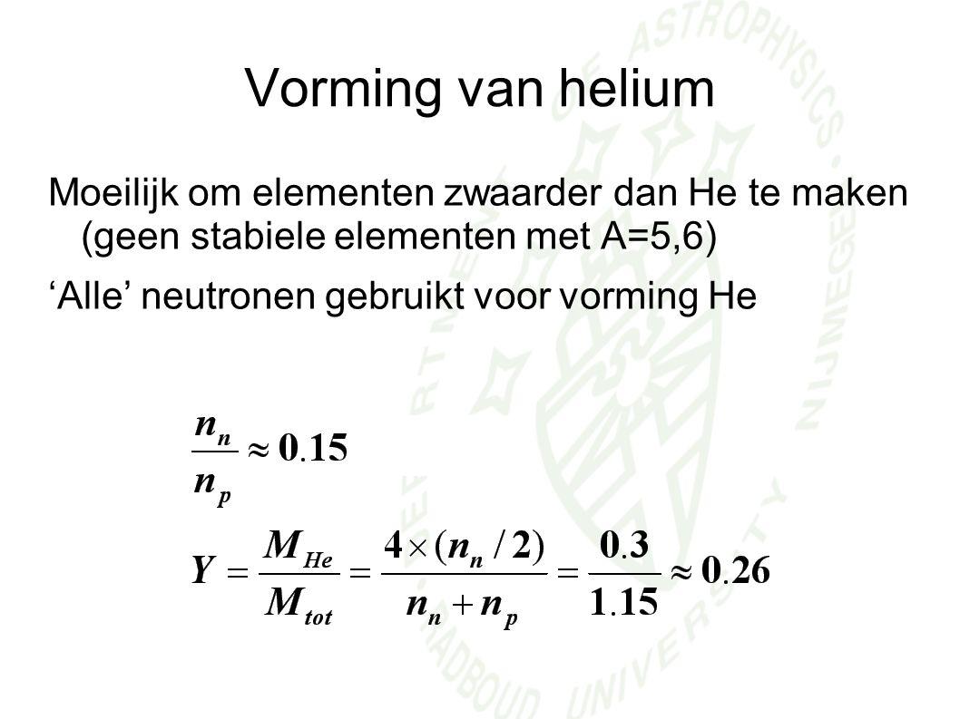 Vorming van helium Moeilijk om elementen zwaarder dan He te maken (geen stabiele elementen met A=5,6)