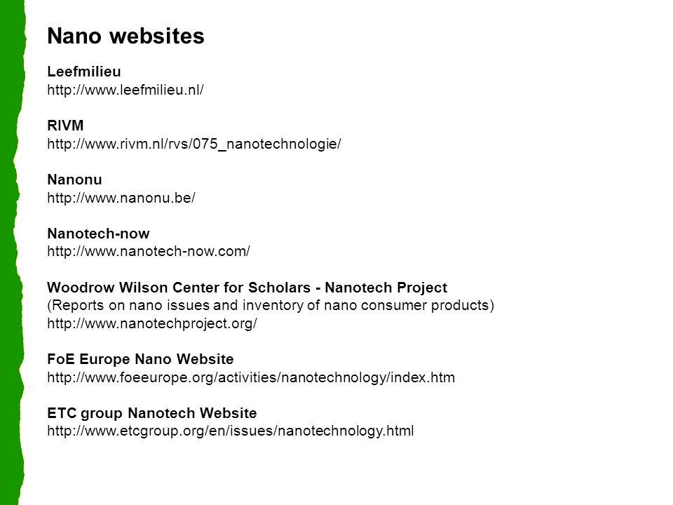 Nano websites Leefmilieu http://www.leefmilieu.nl/ RIVM