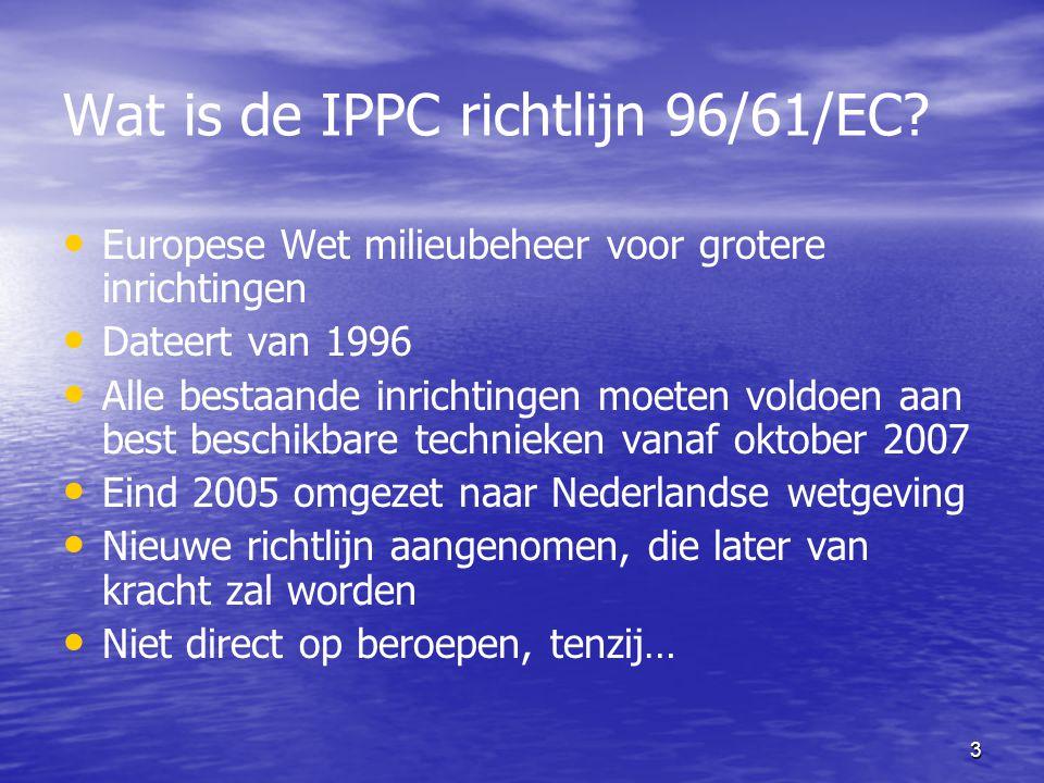 Wat is de IPPC richtlijn 96/61/EC