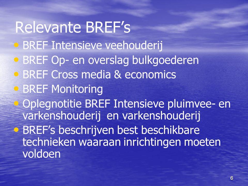 Relevante BREF's BREF Intensieve veehouderij