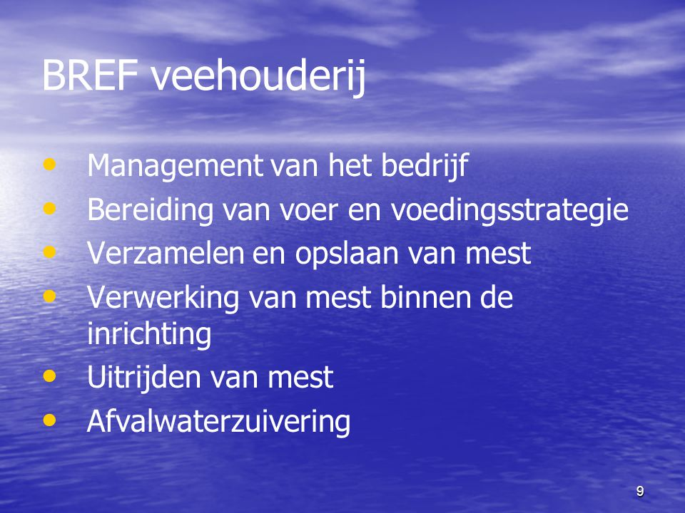 BREF veehouderij Management van het bedrijf