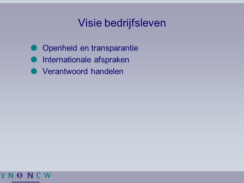 Visie bedrijfsleven Openheid en transparantie Internationale afspraken