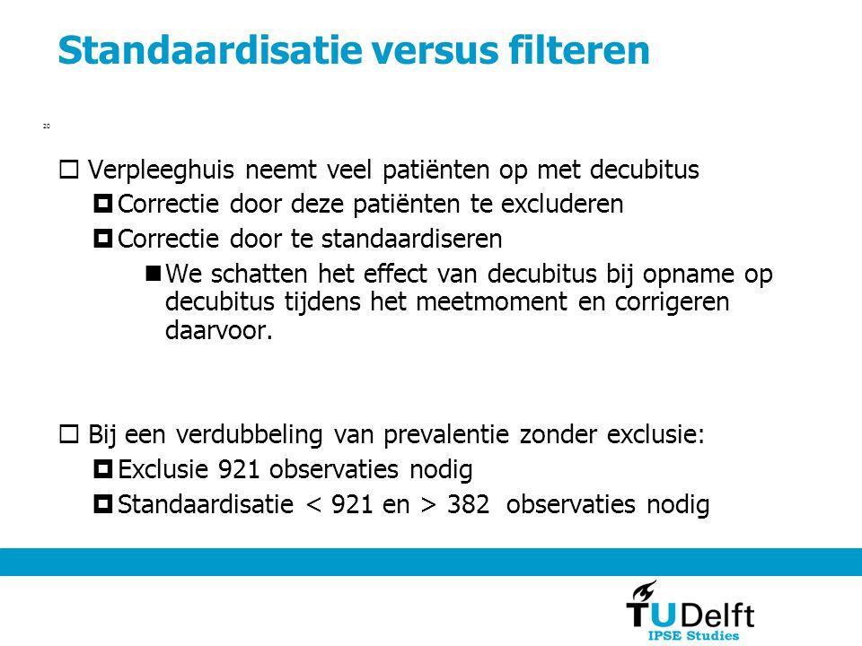 Standaardisatie versus filteren