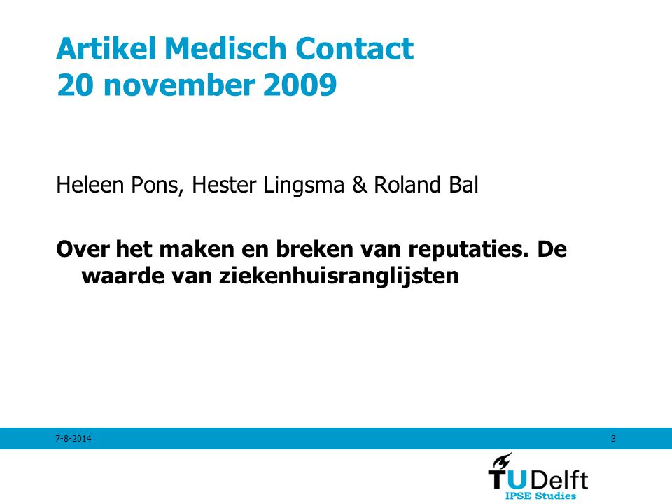 Artikel Medisch Contact 20 november 2009