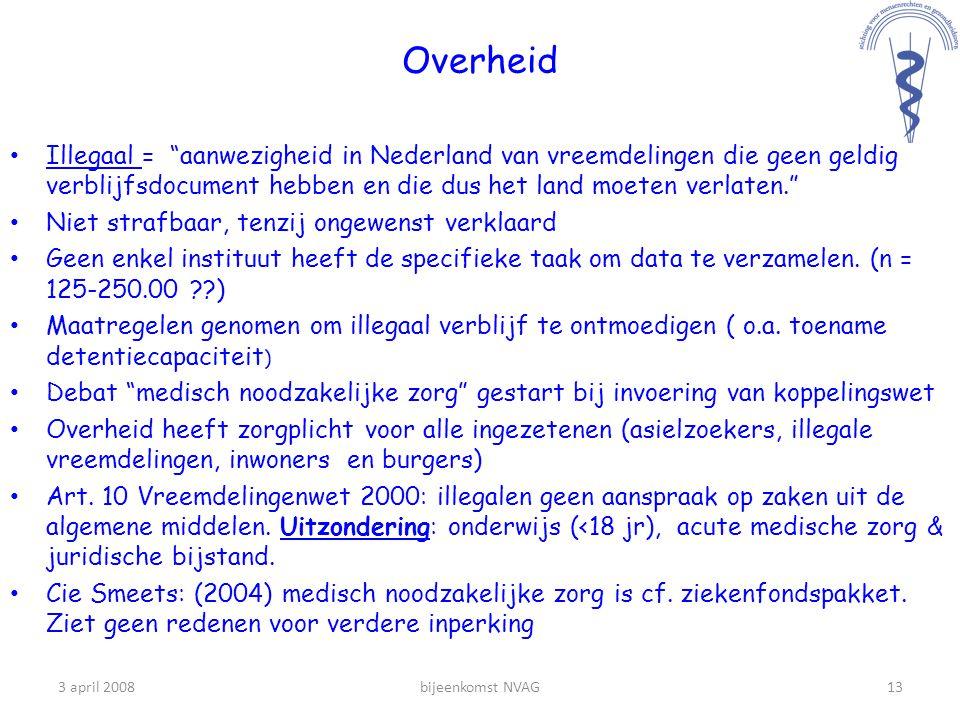 Overheid Illegaal = aanwezigheid in Nederland van vreemdelingen die geen geldig verblijfsdocument hebben en die dus het land moeten verlaten.