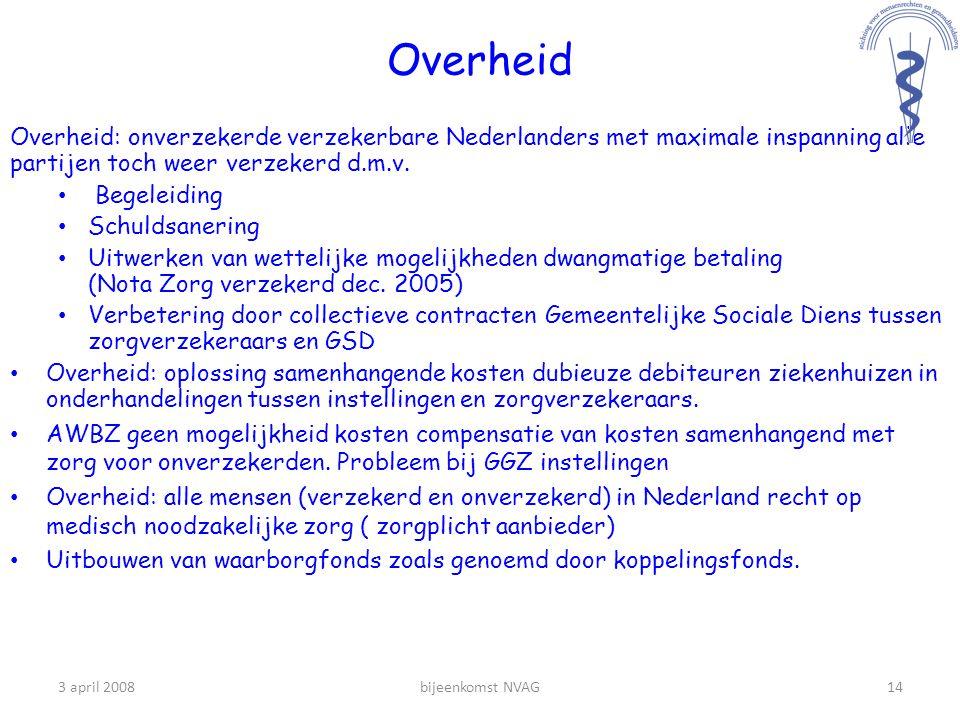 Overheid Overheid: onverzekerde verzekerbare Nederlanders met maximale inspanning alle partijen toch weer verzekerd d.m.v.