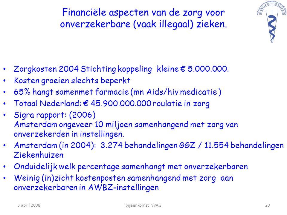 Financiële aspecten van de zorg voor onverzekerbare (vaak illegaal) zieken.